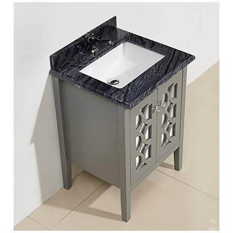 "Mediterraneo 24"" Blackwood Marble and Gray Single Sink Vanity"