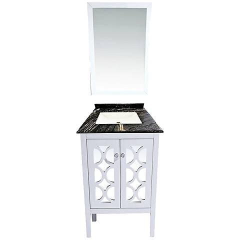 "Mediterraneo 24"" Blackwood Marble and White Single Sink Vanity"