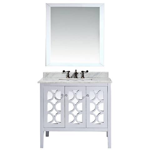 "Mediterraneo 36"" White Carrera and White Single Sink Vanity"