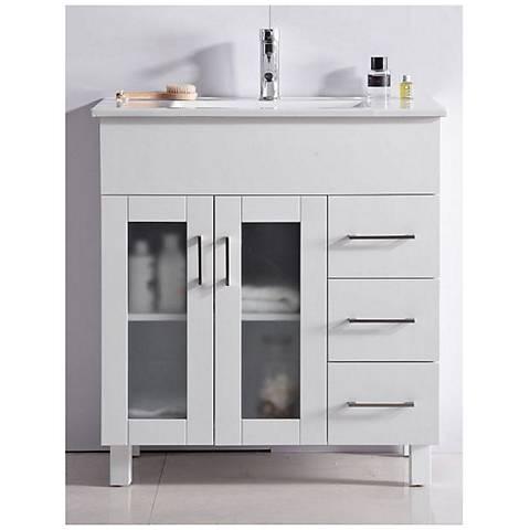 """Nova 32"""" White Single Sink Vanity with Ceramic Basin"""