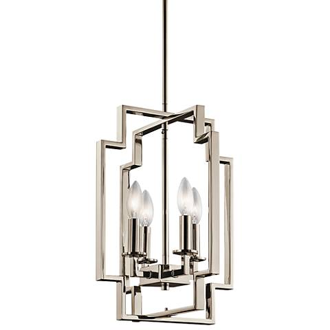 "Kichler Downtown Deco 12"" Wide Polished Nickel Foyer Pendant"