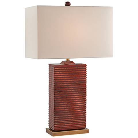 Currey and Company Archer Red and Antique Brass Table Lamp