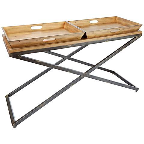 Calhoun Industrial Wood Top and Steel Console Table