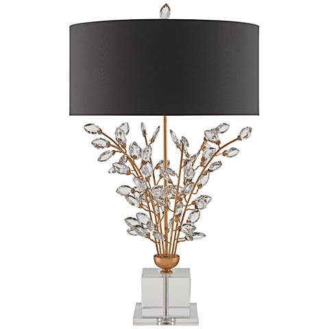 Forget-Me-Not Chinois Gold Leaf and Clear Table Lamp