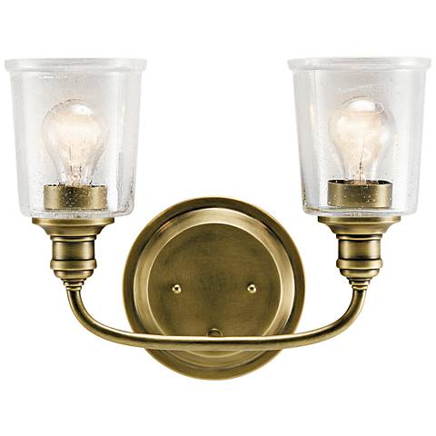 "Kichler Waverly 10 1/4""H Natural Brass 2-Light Wall Sconce"