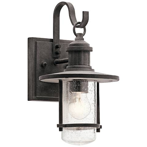 "Kichler Riverwood 12 1/2""H Weathered Zinc Outdoor Wall Light"