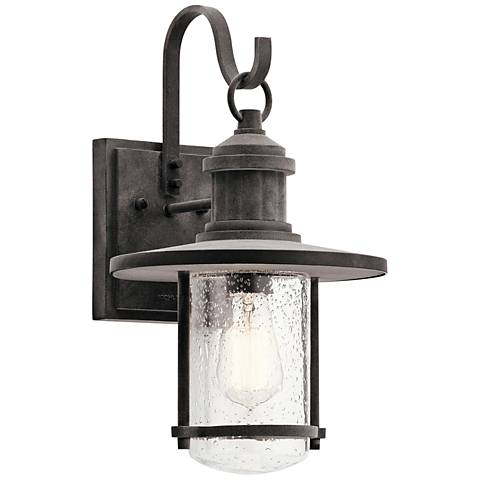 "Kichler Riverwood 16 3/4""H Weathered Zinc Outdoor Wall Light"