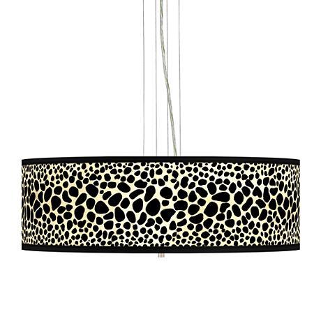 """Leopard Giclee 24"""" Wide 4-Light Pendant Chandelier"""