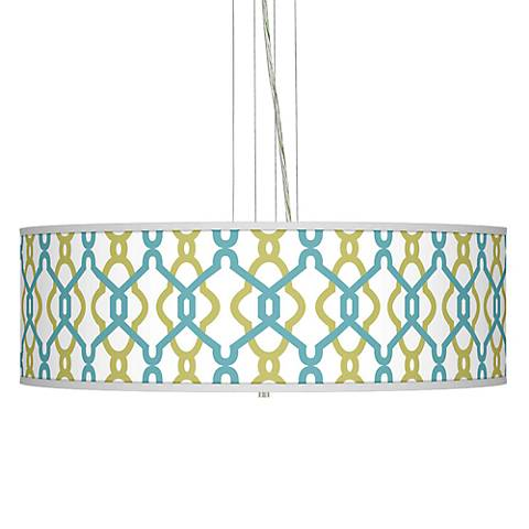 "Hyper Links Giclee 24"" Wide Four Light Pendant Chandelier"