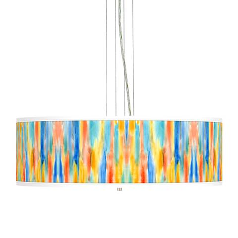 "Tricolor Wash Giclee 24"" Wide 4-Light Pendant Chandelier"