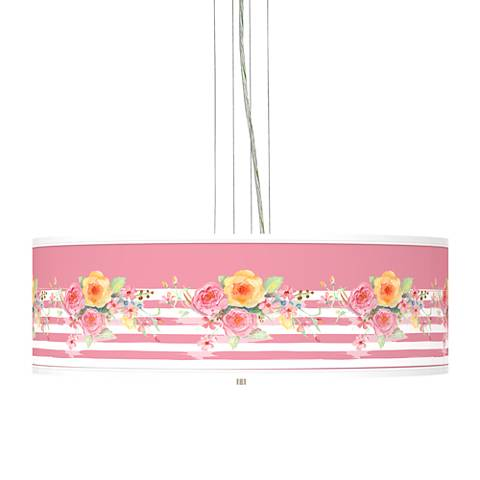 """Country Rose Giclee 24"""" Wide 4-Light Pendant Chandelier"""
