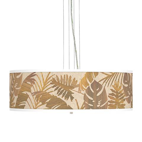 "Tropical Woodwork Giclee 24"" Wide 4-Light Pendant Chandelier"