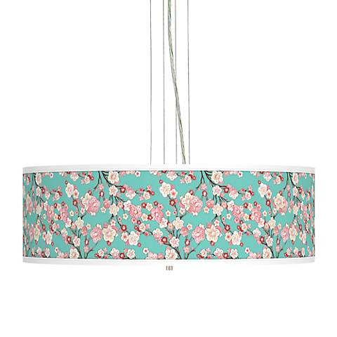 "Cherry Blossoms Giclee 24"" Wide 4-Light Pendant Chandelier"