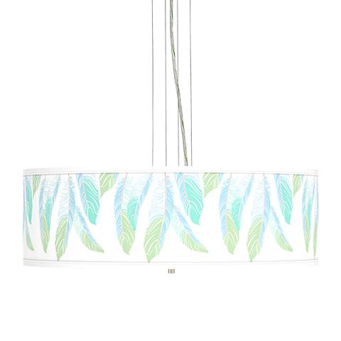 "Light as a Feather Giclee 24""W4-Light Pendant Chandelier"