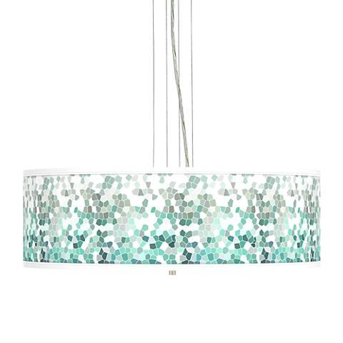 "Aqua Mosaic Giclee 24"" Wide 4-Light Pendant Chandelier"