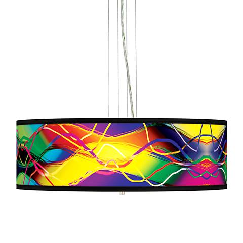 "Colors in Motion (Light) 24"" Wide 4-Light Pendant Chandelier"