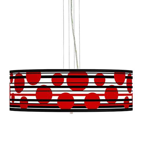 "Red Balls Giclee 24"" Wide 4-Light Pendant Chandelier"