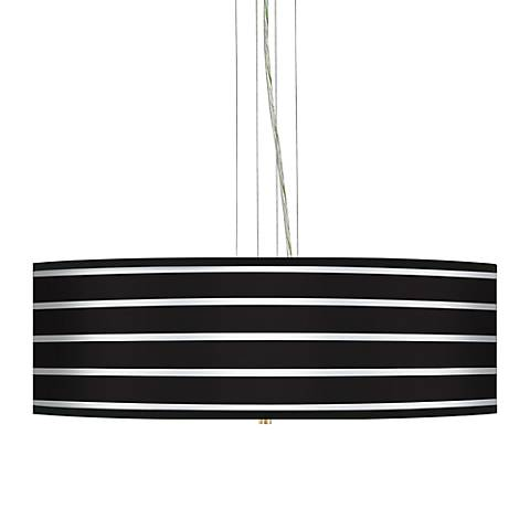 "Bold Black Stripe 24"" Wide 4-Light Pendant Chandelier"