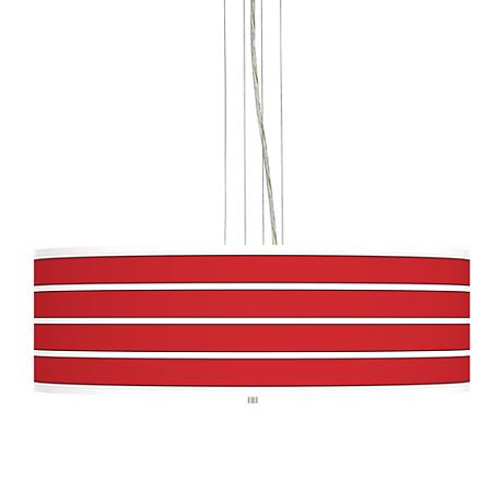"Bold Red Stripe 24"" Wide 4-Light Pendant Chandelier"