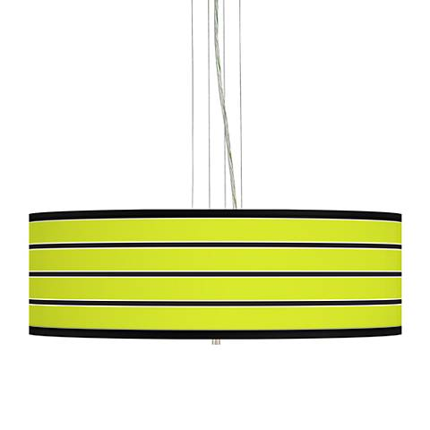 "Bold Lime Green Stripe 24"" Wide 4-Light Pendant Chandelier"