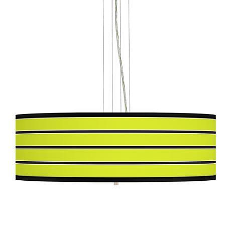 "Bold Lime Green Stripe 24"" Wide 4-Light Pendant Chandelier"