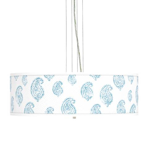 """Paisley Snow Giclee 24"""" Wide Four Light Pendant Chandelier"""