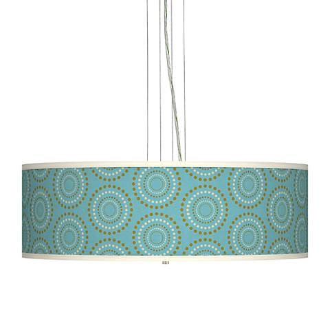 "Blue Calliope Linen Giclee 24"" Wide Pendant Chandelier"