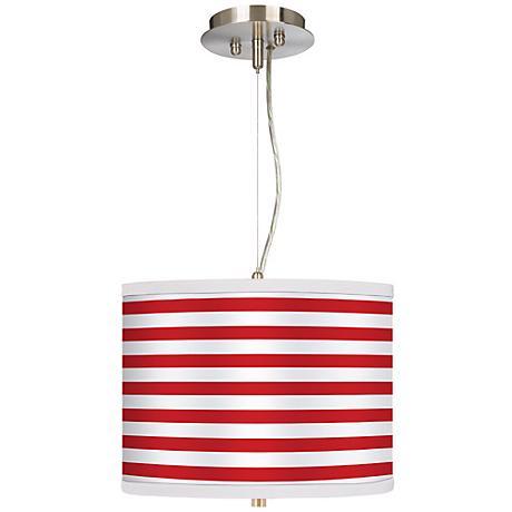 "Red Horizontal Stripe 13 1/2"" Wide Pendant Chandelier"