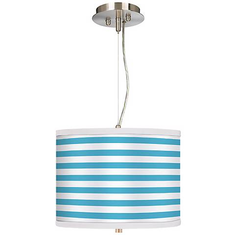 "Aqua Horizontal Stripe 13 1/2"" Wide Pendant Chandelier"