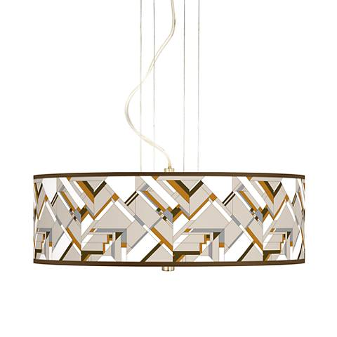 "Craftsman Mosaic 20"" Wide 3-Light Pendant Chandelier"