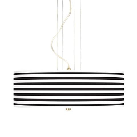 "Black Horizontal Stripe 20"" Wide 3-Light Pendant Chandelier"