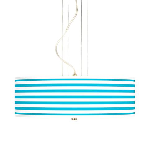 "Aqua Horizontal Stripe 20"" Wide 3-Light Pendant Chandelier"
