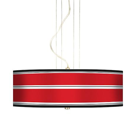 "Red Stripes 20"" Wide Three Light Pendant Chandelier"