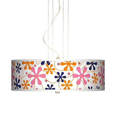 "Retro Pink 20"" Wide 3-Light Pendant Chandelier"