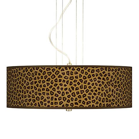 "Safari Cheetah Giclee 20"" Wide 3-Light Pendant Chandelier"
