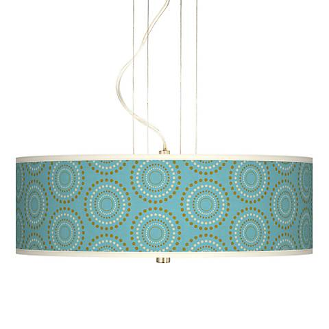 "Blue Calliope Linen Giclee 20"" Wide Pendant Chandelier"