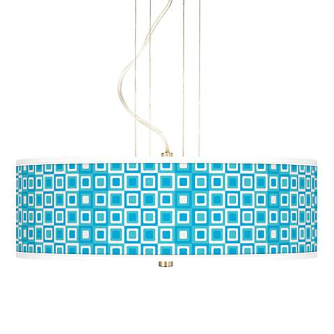 Blue Boxes Linen Giclee 3-Light Pendant Chandelier