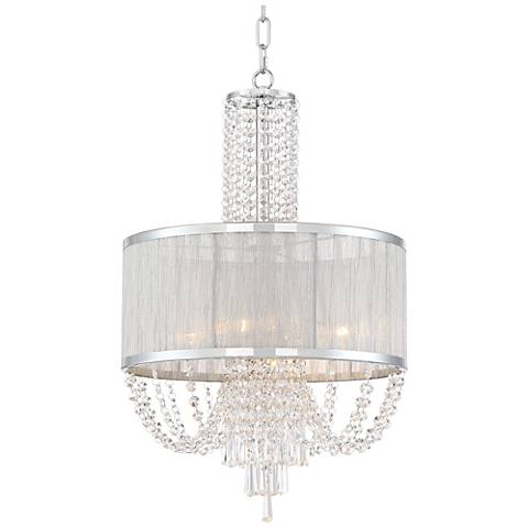 "Ellisia 15 3/4"" Wide Chrome and Crystal Pendant Light"