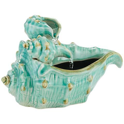 "Seashells 7""H Teal Ceramic Indoor/Outdoor Tabletop Fountain"