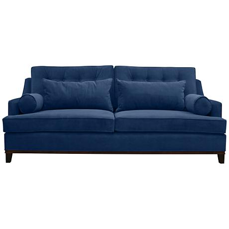 Modena Small Blue Velvet Tufted Sofa 17v83 Lamps Plus