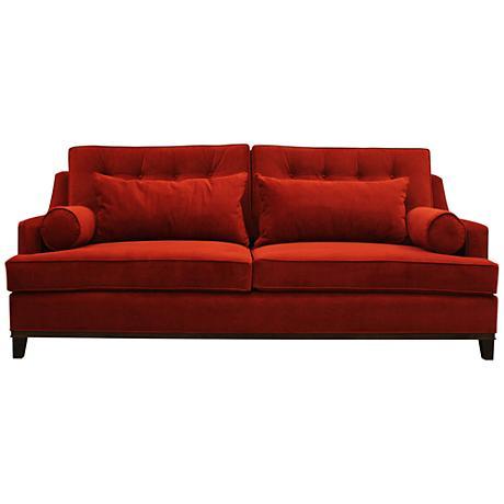 Modena Small Red Velvet Tufted Sofa 17v84 Lamps Plus