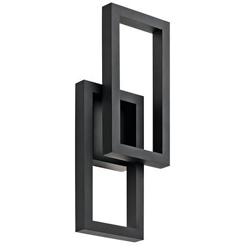 "Kichler Rettangolo 19"" High Black LED Outdoor Wall Light"