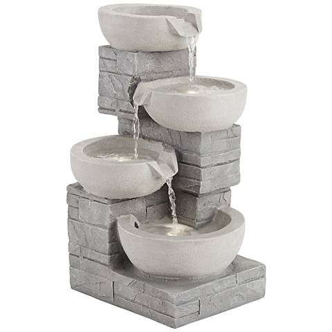 """4-Bowl 22"""" High Gray Stone Indoor/Outdoor LED Fountain"""