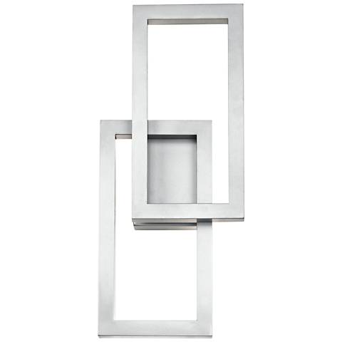"Kichler Rettangolo 19"" High Platinum LED Outdoor Wall Light"