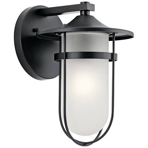 "Kichler Finn 13 1/4"" High Black Outdoor Wall Light"