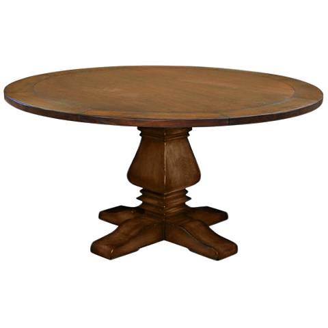 Toscana Medium Round Cognac Wood Dining Table