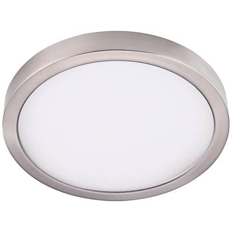 "Disk 8"" Wide Nickel Round LED Indoor-Outdoor Ceiling Light"