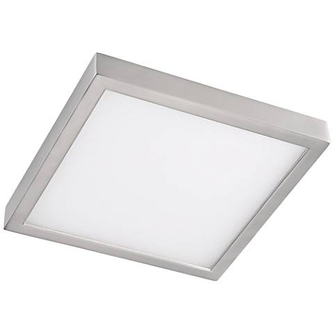 "Disk 8"" Wide Nickel Square LED Indoor-Outdoor Ceiling Light"