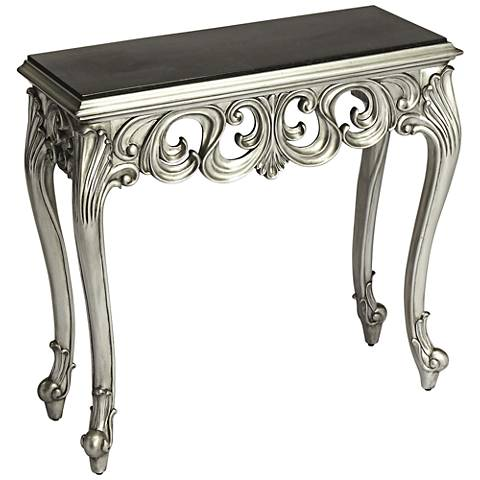 Butler Guilbert Silver and Black Top Wood Console Table