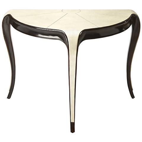 Butler Alexis Ivory and Dark Wood Demilune Console Table